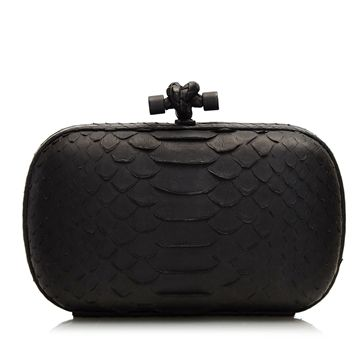 Bottega Veneta Black Python Knot Clutch