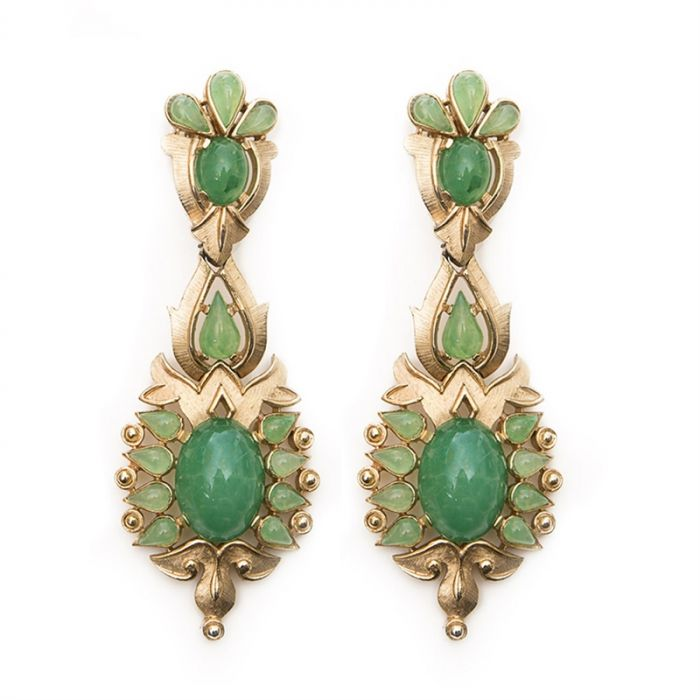 Trifari Emerald and Gold Clip-On Earrings