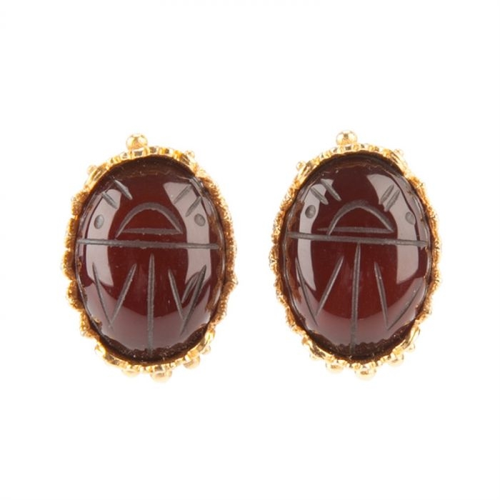 Vintage 1970s Scarab Earrings