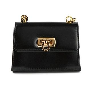 Ferragamo Vintage Black Leather Mini Shoulder Bag