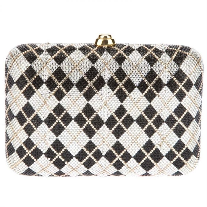 Judith Leiber Harlequin Crystal Minaudiere Clutch
