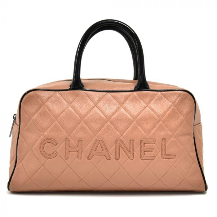 Chanel Beige Quilted Calfskin Boston Travel Bag