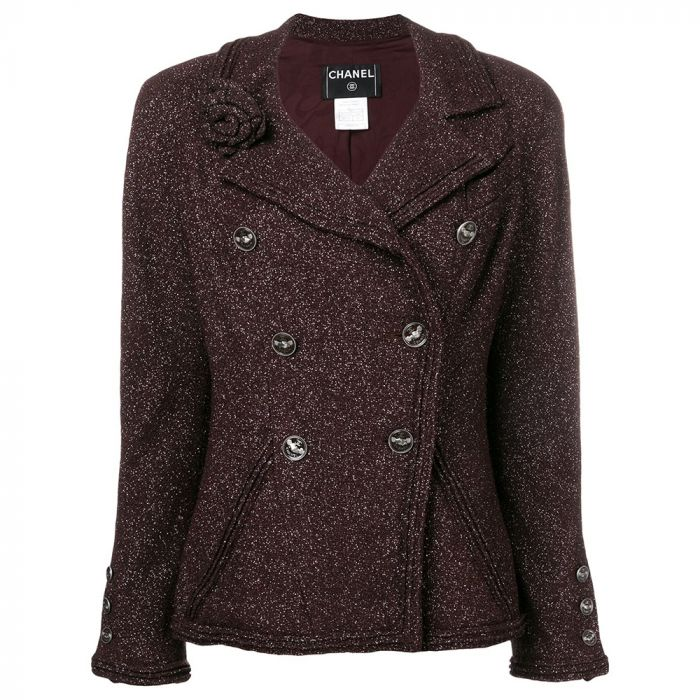 Chanel Plum Double-breasted Jacket