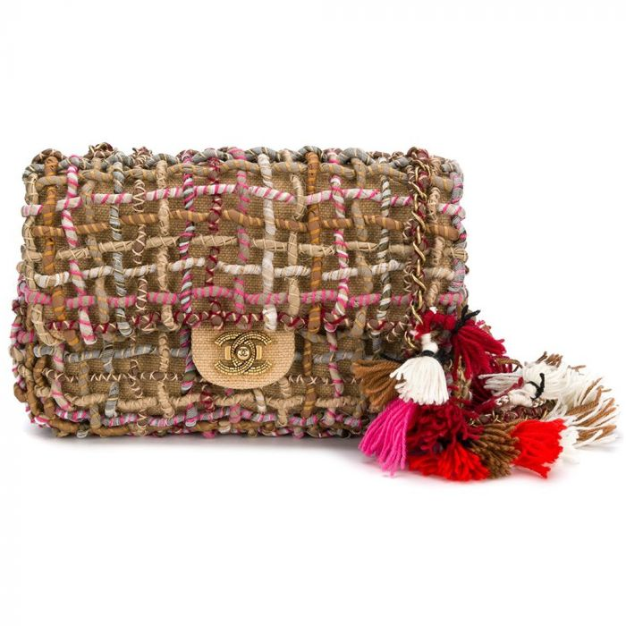 Chanel Twisted Woven Flap Bag with Pom Poms SOLD