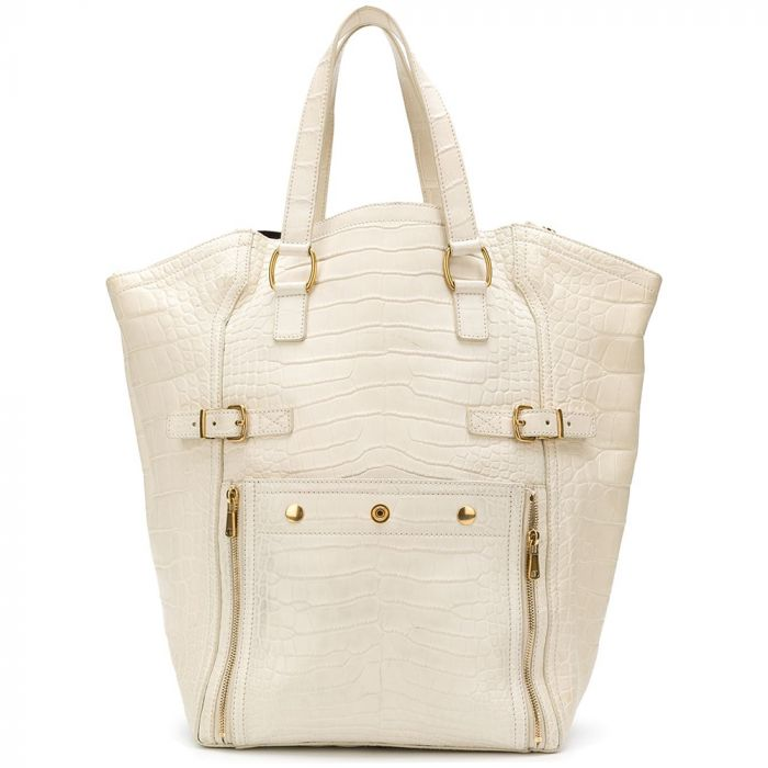 Yves Saint Laurent White Crocodile Leather Downtown Satchel Bag