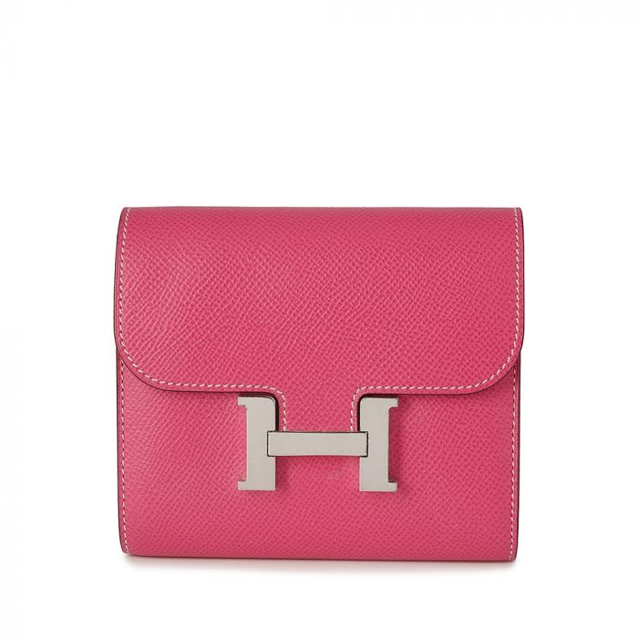 Hermes Rose Tyrien Constance Epsom Leather Compact Wallet SOLD