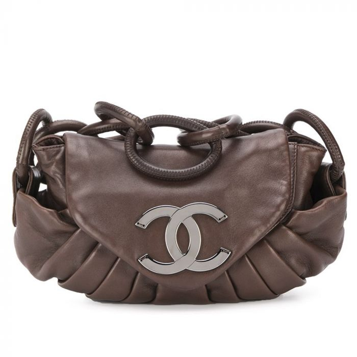 Chanel Brown Pleated Leather Tote Bag SOLD