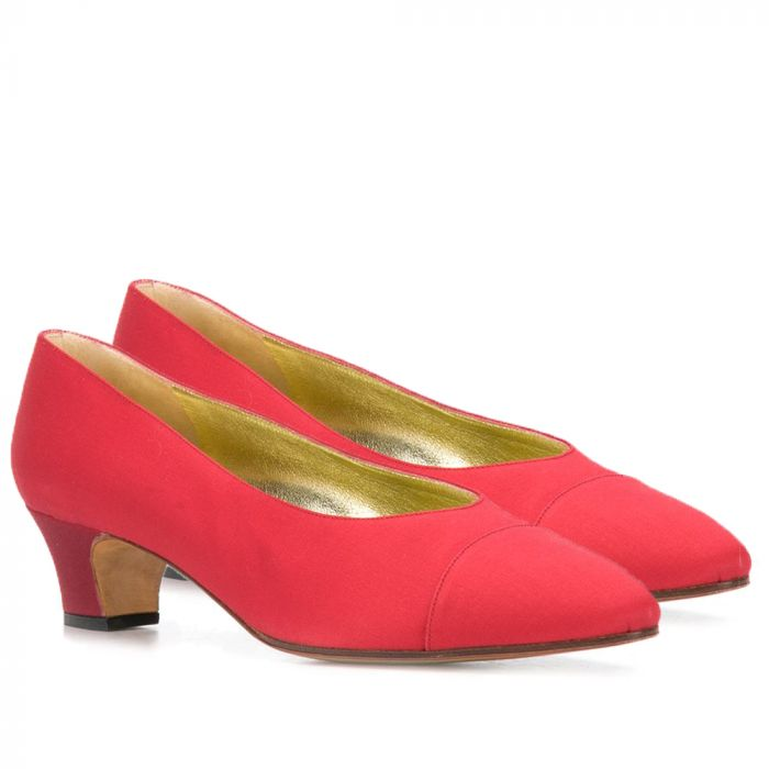 Chanel Crimson Red Satin Pumps SOLD