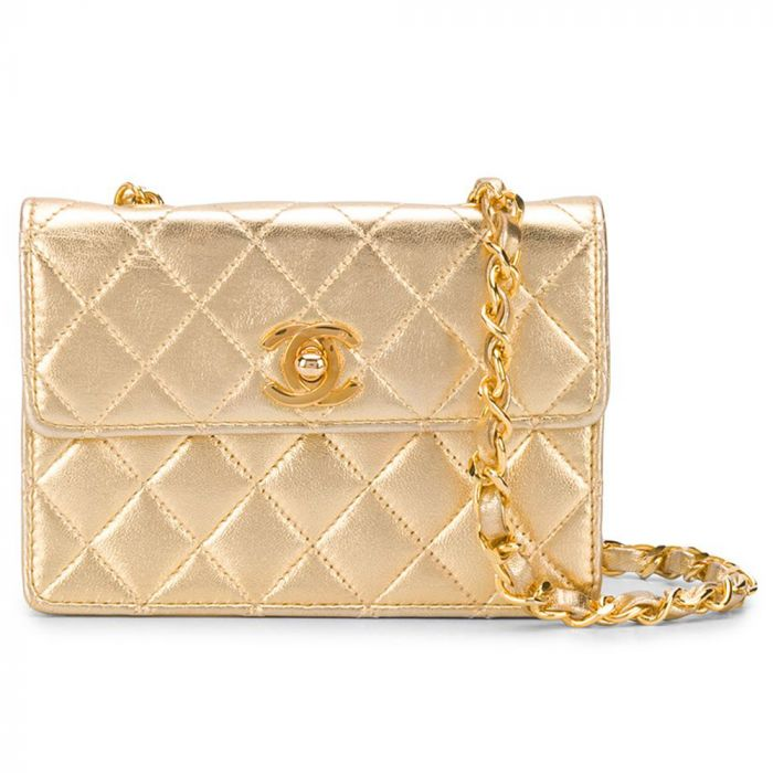 Chanel Metallic Gold Mini Crossbody Bag