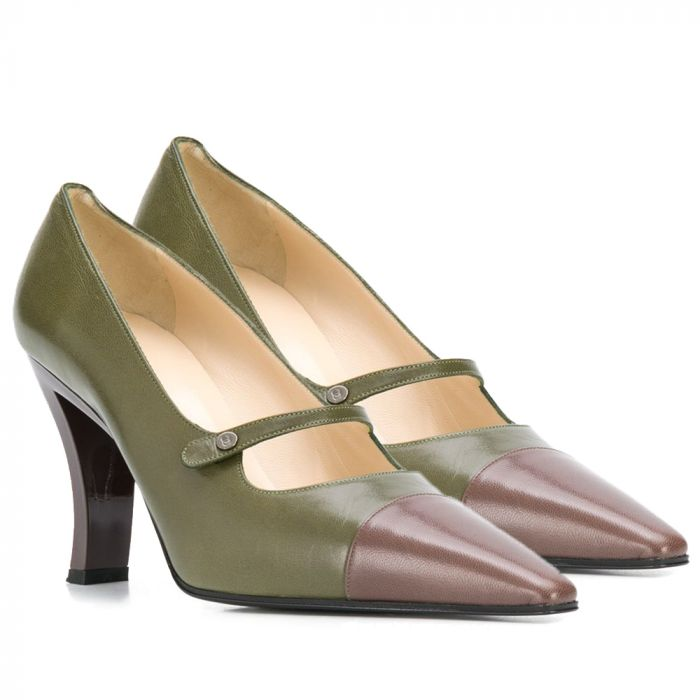 Chanel Khaki & Brown Pointed Pumps