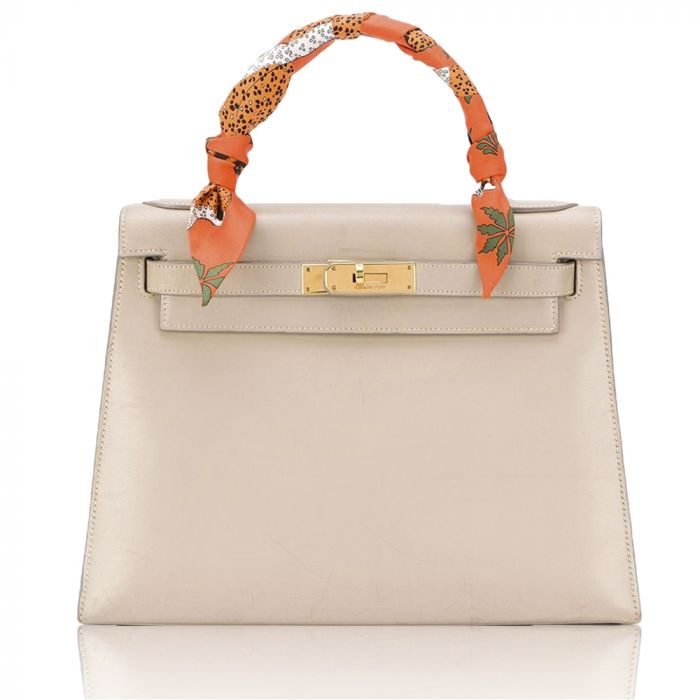 Hermès Light Grey Box Leather 28cm Kelly Sellier Bag SOLD