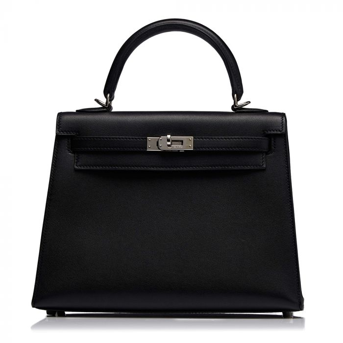 Hermès Black Kelly Sellier 25cm Bag