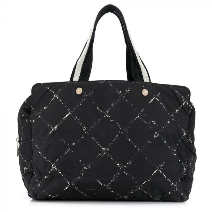 Chanel Black Quilted Nylon Boston Travel Bag