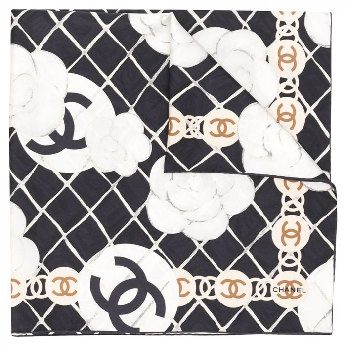Chanel Black Check Silk Scarf