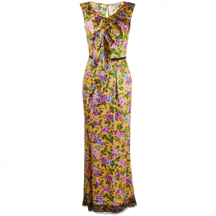 Nina Ricci Silk Floral Print Dress