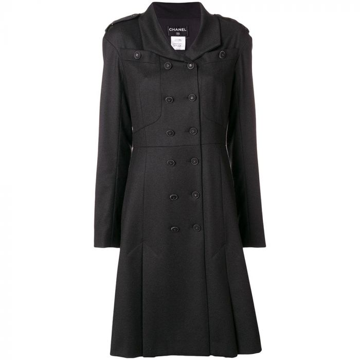 Chanel Black Flared Coat