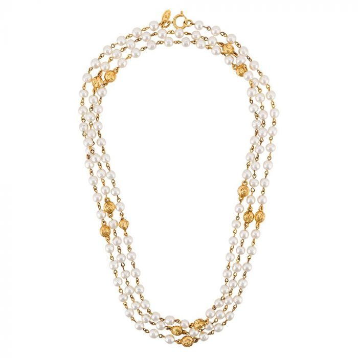Chanel Triple Strand Pearl Necklace SOLD
