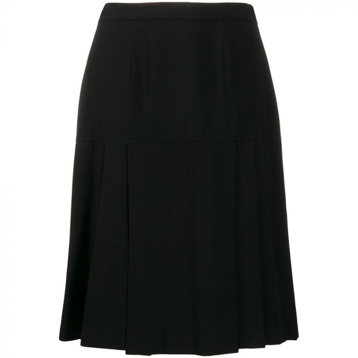 Chanel Pleated Black Wool Skirt