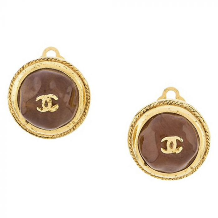 Chanel Round Amber Gemstone Earrings SOLD