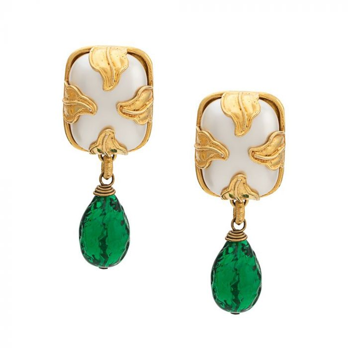 Dominique Aurientes Pearl & Green Gripoix Earrings