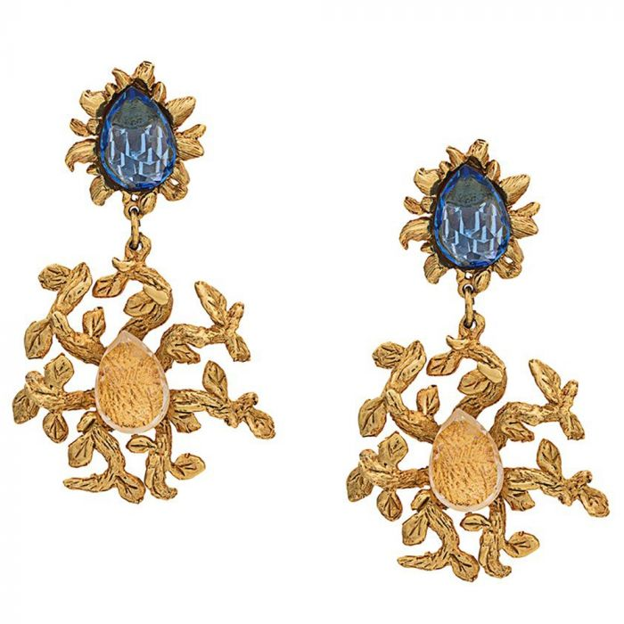 Crystal Embellished Leaf Drop Earrings