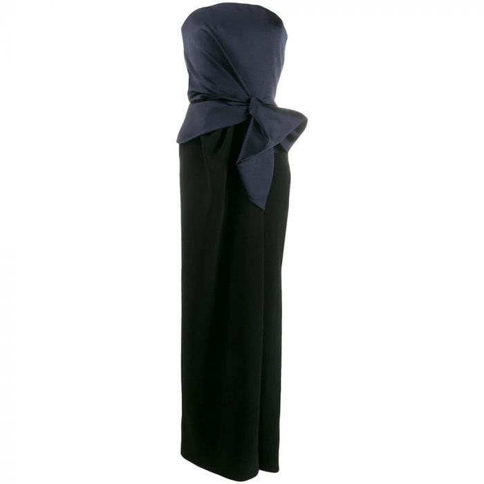 Balenciaga Strapless Navy Couture Gown
