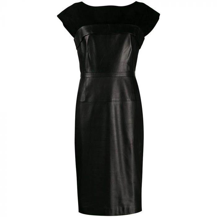 Gucci Black Leather Panel Dress