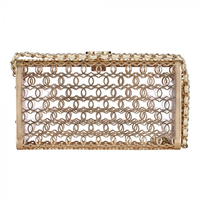 Vintage Chanel Logo Cage Clutch SOLD