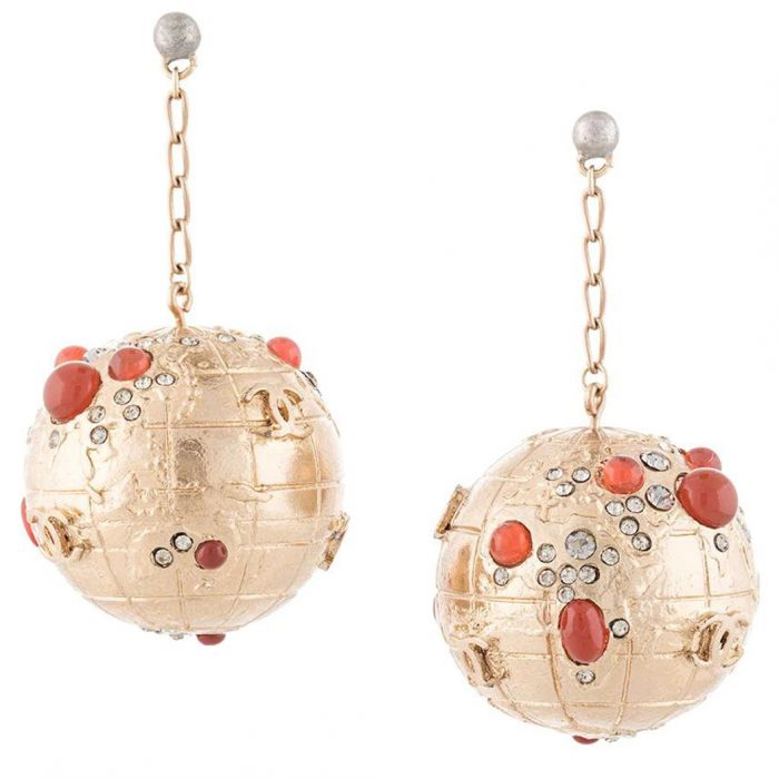 Gold Globe Earrings