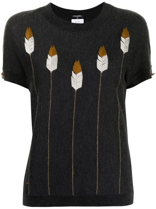 Feather Embroidery Cashmere Top 2014