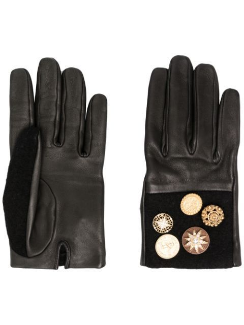 Leather Gloves Black/Brown Star Buttons