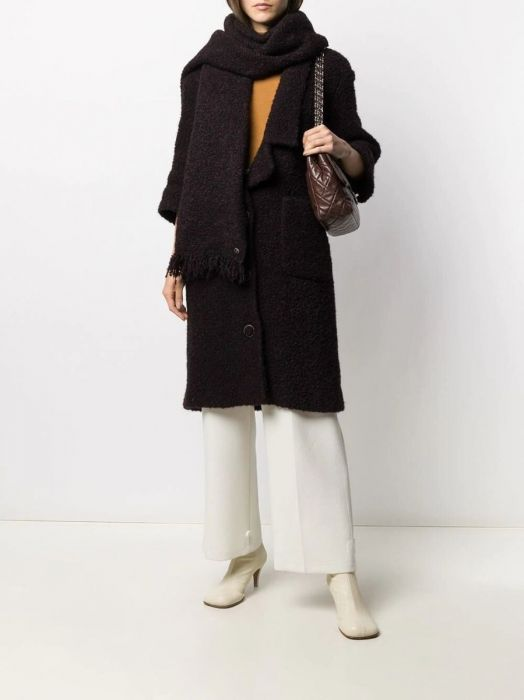 3/4 Sleeve Coat with Scarf