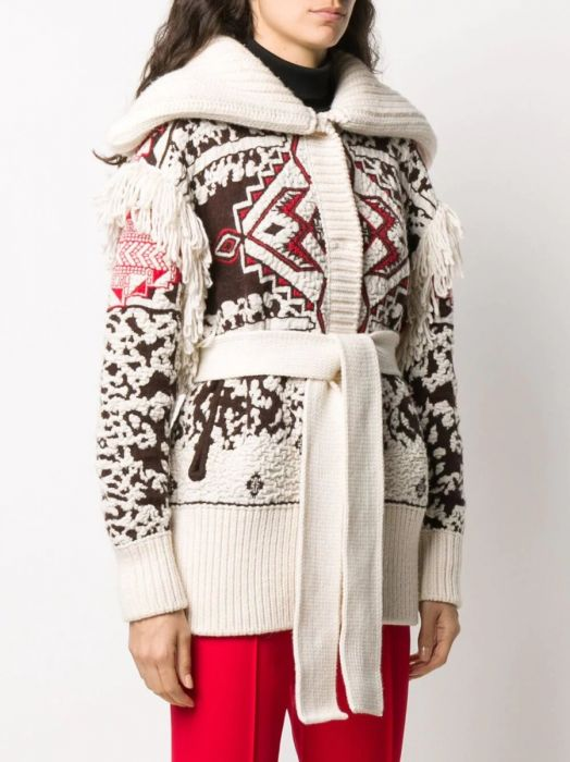 Emilio Pucci Mohair and Wool White Fringe Cardigan