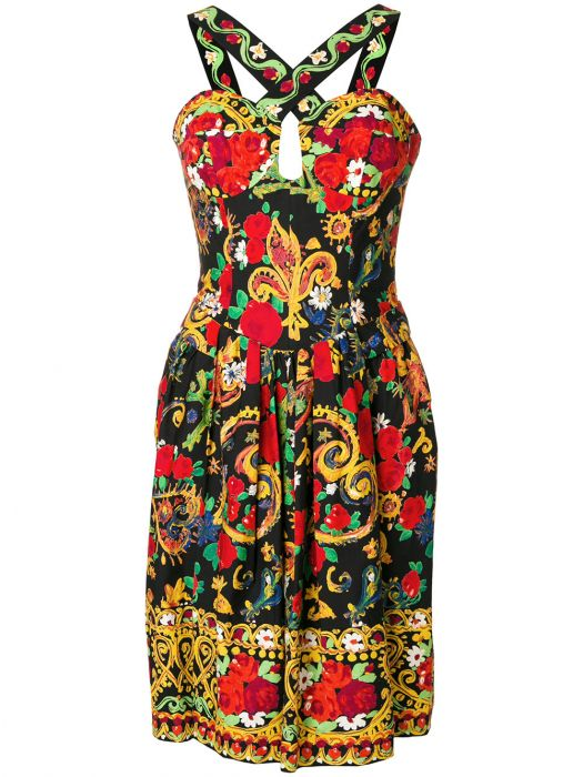 Christian Lacroix Vintage Lace-up Printed Dress