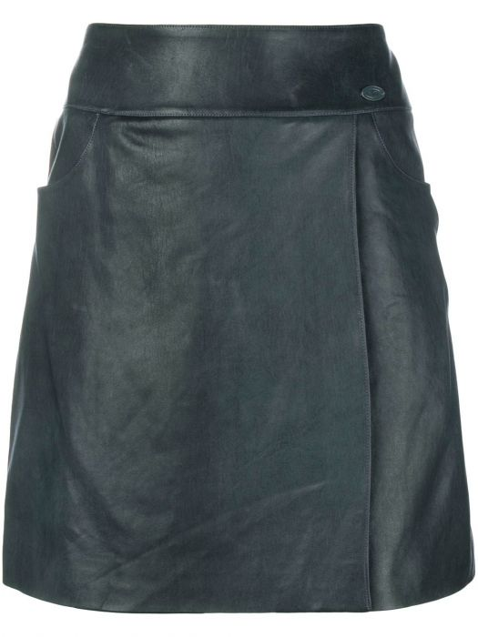 Chanel Cadet Blue Lambskin Leather Skirt SOLD