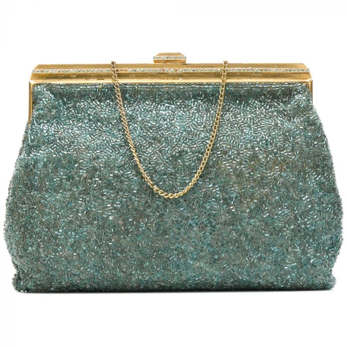 Vintage 1950s Aqua Blue Beaded Handbag