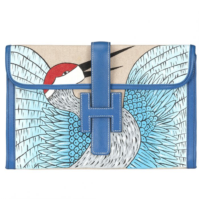 Ivory and Blue Jige Clutch Customised With Bird