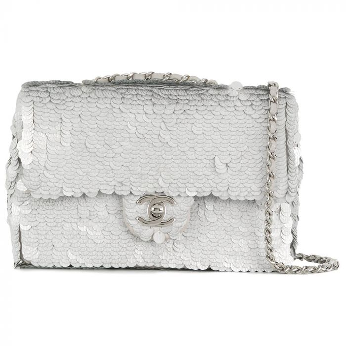 Chanel Silver Sequin Flap Bag SOLD
