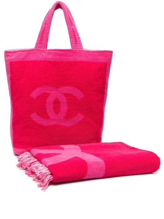 Chanel Logo Beach Bag and Matching Towel