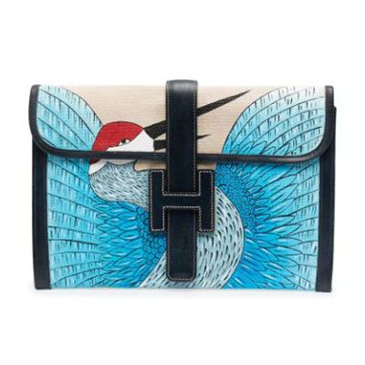 Jige Navy & White Clutch Customised with Bird