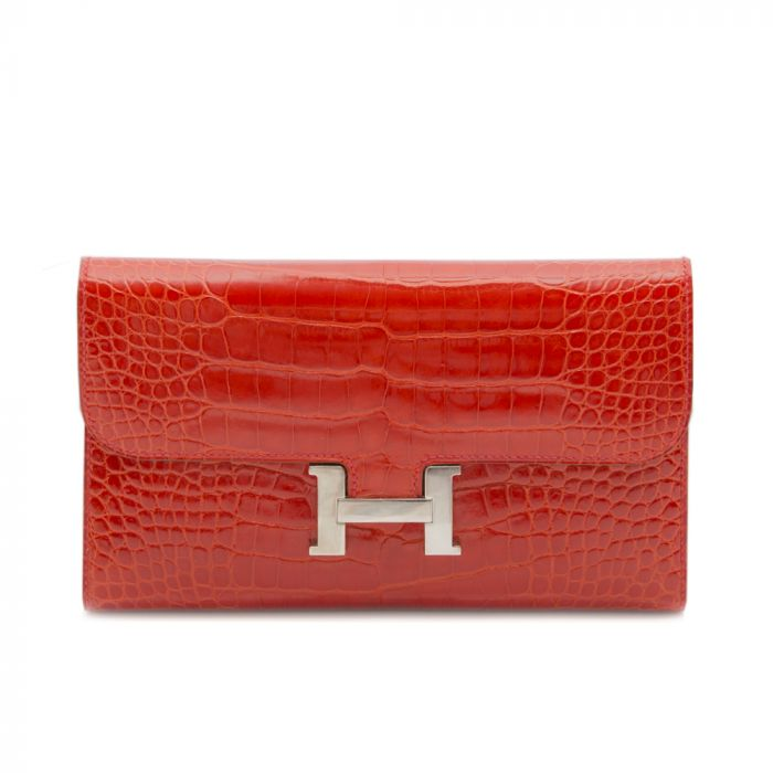 Hermes Red Alligator Constance Wallet SOLD