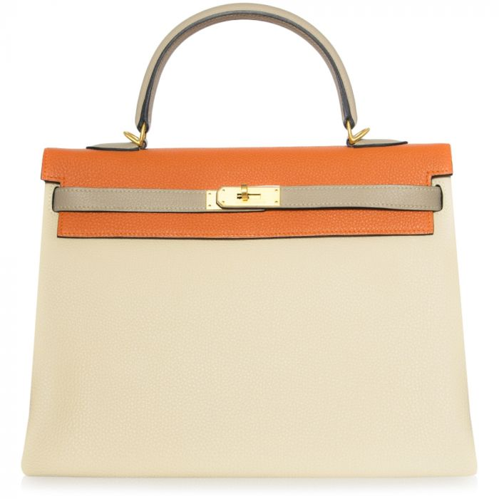 Hermes Special Order Tri-Colour Togo Leather 35cm Kelly Bag