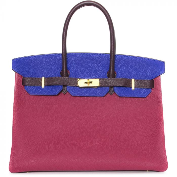 Hermes Special Order Tri-Colour Chevre Leather 35cm Birkin Bag SOLD