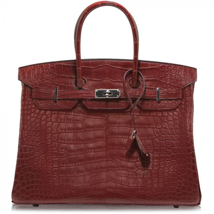 Hermes Matte Alligator Bourgogne 35cm Birkin Bag SOLD