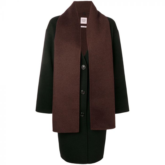 Hermès Cashmere Detachable Scarf Midi Coat