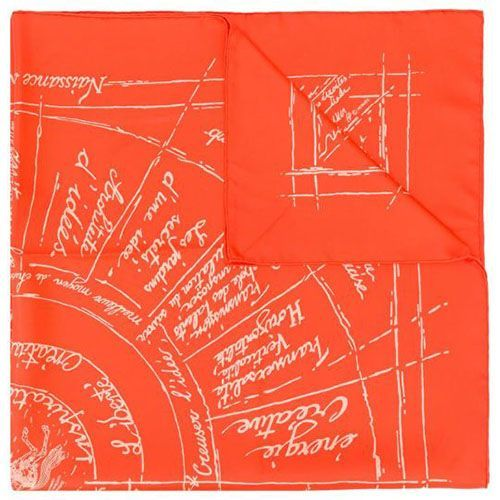 Red Naissance D'une Silk Scarf