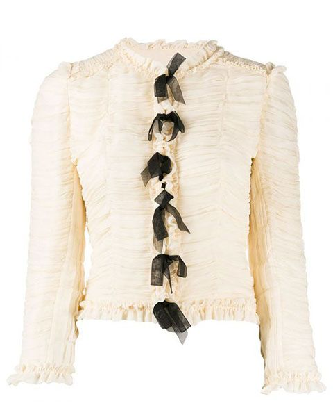Chanel Ecru Lace Up Silk Jacket