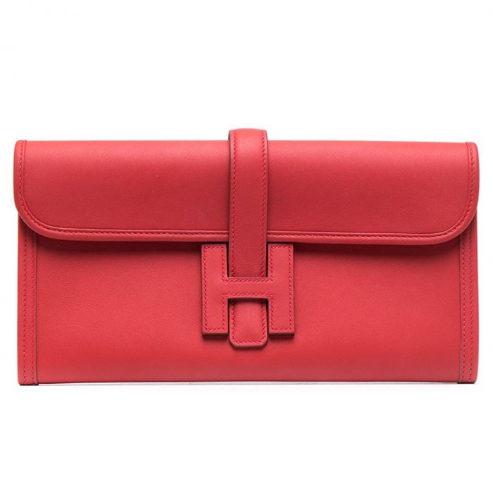Hermès Jige Red Leather Clutch