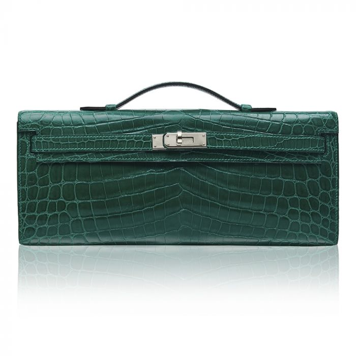 Hermès Vert Emerald Niloticus Crocodile Kelly Cut Clutch Bag SOLD