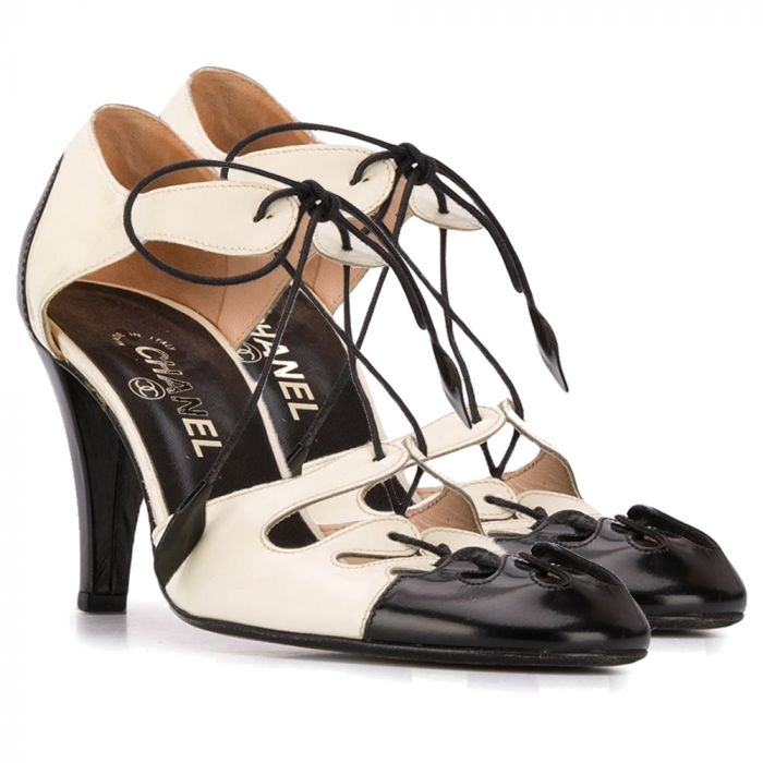 Chanel Lace-Up Leather Pumps SOLD